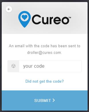 Cureo login code screen