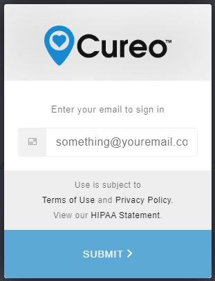 Cureo login email screen