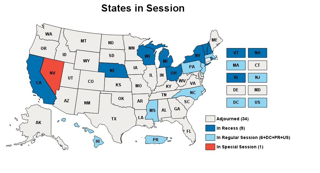States in Session map