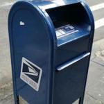 Blue USPS mailbox